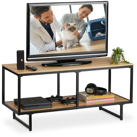Relaxdays Industrial TV Lowboard, Wood Look, Metal Frame, TV Stand, HWD: 50.5 x 110.5 x 45.5 cm, Light Brown