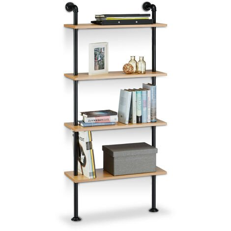 Relaxdays Industrial Wall Shelving Unit, 4 Shelves, Wall-Mount, Bookcase, Wooden, Vintage, Retro Look, HxWxD: 142.5 x 60 x 24 cm, Natural