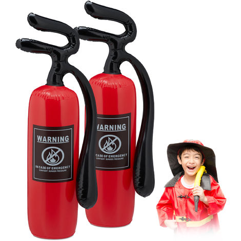 Relaxdays Inflatable Fire Extinguisher Toy, Set of 2, For Kids & Adults, Fireman Costume Accessory, Dress-up, Red