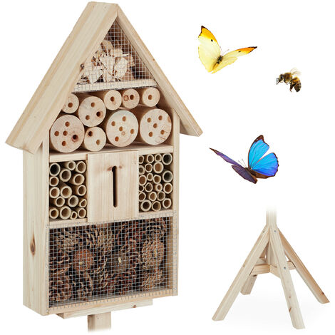 Relaxdays Insect Hotel on Stand, Garden Nesting Aid, Bee House, Wooden, HWD: 140x47x47cm, Natural