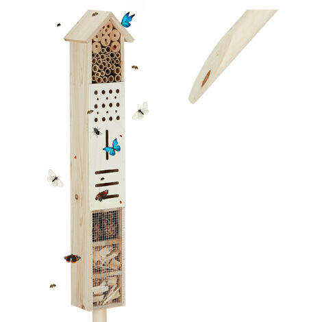 Relaxdays Insect Hotel with Stand, Garden Nesting Aid, Large, Freestanding, Bee House, Wooden, 148 cm Tall, Natural