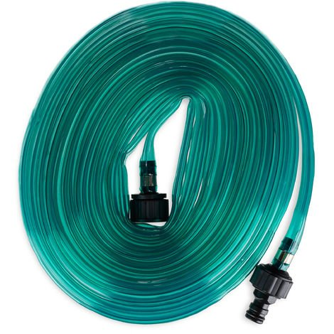 Relaxdays Irrigation Hose, Flat Watering Hose, For Garden, With Holes For Sprinkling, Ready To Fit, 8.2 Meter, Green