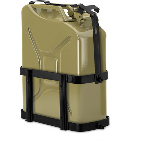 Relaxdays Jerry Can Holder, Car & Truck, 10 & 20L Fuel Canister Carrier, Lockable Metal Cage, Petrol & Diesel, Black