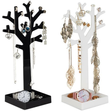 Relaxdays Jewellery Tree Rack Set of 2 with Tray, Display for Necklaces, HWD: 28.5x14.5 x9.5 cm, Black-White