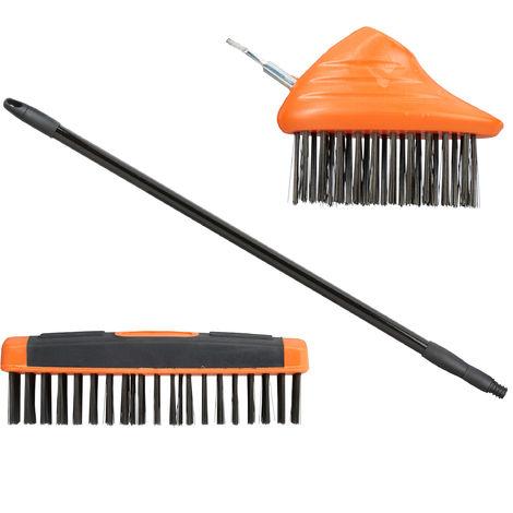 Relaxdays Joint Brush Broom Set With Telescopic Handle, Carbon Steel Bristles, Patio Scraper & Scrubber, Weeding, 80-140cm, Black