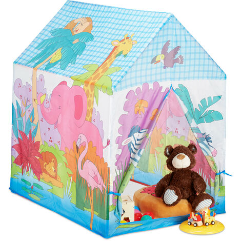 Relaxdays Jungle Animals Play Tent for your Children's Room, Outdoor, 3 and Up, Safari Playhouse HWD 102 x 72 x 95 cm