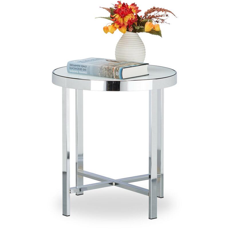 Relaxdays - Kaffeetisch Glas, gehärtet, Chrom, Milchglas, Couchtisch, Beistelltisch, Stahl, HBT: 46 x 41 x 41 cm, silber