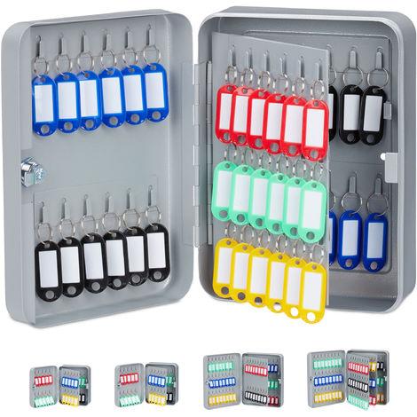Relaxdays Key Cabinet, Lockable Safe with Key Tags, Organiser, 60 Hooks, 25x18x8 cm, Grey