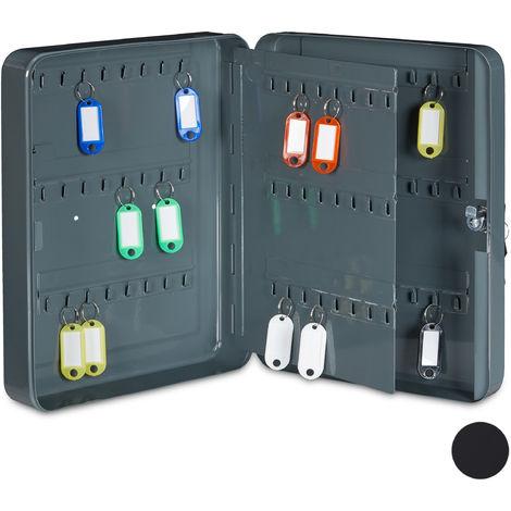 Relaxdays Key Cabinet, Lockable Wall-Mount Metal Key Rack, 96 Hooks, HWD: 30.5x24x7.5cm, Dark Grey