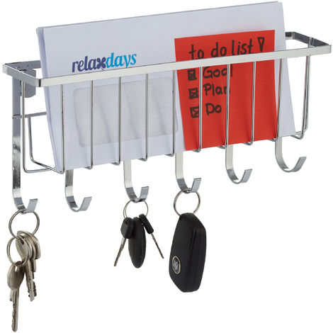 Relaxdays Key Holder with Letter Tray, 6 Hooks, Wall-Mounted Post Organiser, Metal, H x W x D: 12 x 27 x 6 cm, Silver