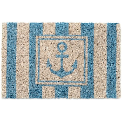 Relaxdays Kids Childrens Mini Doormat Coir with Anchor Theme as Welcome Mat Anti-Slip Robber Underside 1.5 x 40 x 25 cm, Motif: Anchor