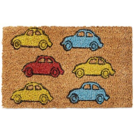 Relaxdays Kids Childrens Mini Doormat Coir with Car Theme as Welcome Mat Anti-Slip Robber Underside 1.5 x 40 x 25 cm, Motif: Cars