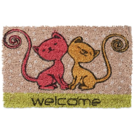 Relaxdays Kids Childrens Mini Doormat Coir with Cat Theme as Welcome Mat Anti-Slip Robber Underside 1.5 x 40 x 25 cm, Motif: Cats