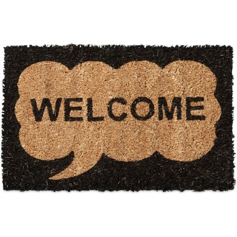 Relaxdays Kids Childrens Mini Doormat Coir with Welcome Speech Bubble Theme as Welcome Mat Anti-Slip Robber Underside 1.5 x 40 x 25 cm, Motif: Welcome