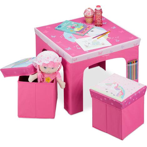 Relaxdays Kids' Corner, Folding Children's Furniture Ensemble with Table & Storage Ottomans, Pink
