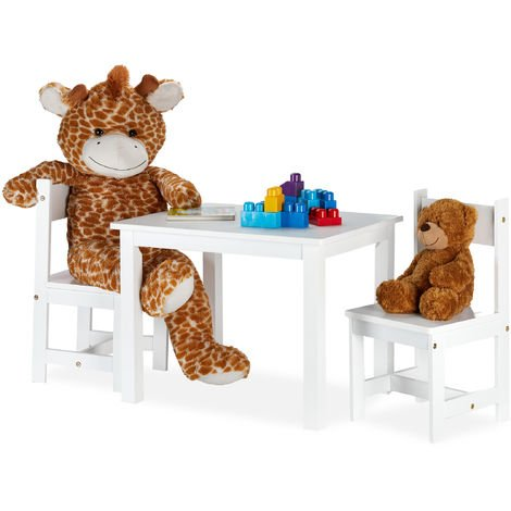 Relaxdays Kids' Furniture Ensemble with 2 Children's Chairs, Modern, Indoors, MDF Set, Playroom, White