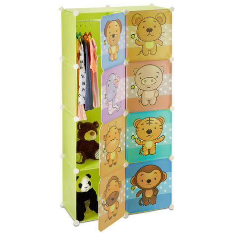 Relaxdays Kid's Shelf with Animal Print, Modular Plastic Wardrobe with Doors, Children's Cabinet, Clothes Rail