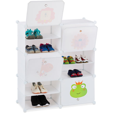 Relaxdays Kids' Shoe Rack, 12 Compartments for 24 Pairs, Extendible Modular Shelf, HxWxD: 95 x 84 x 31.5 cm, White