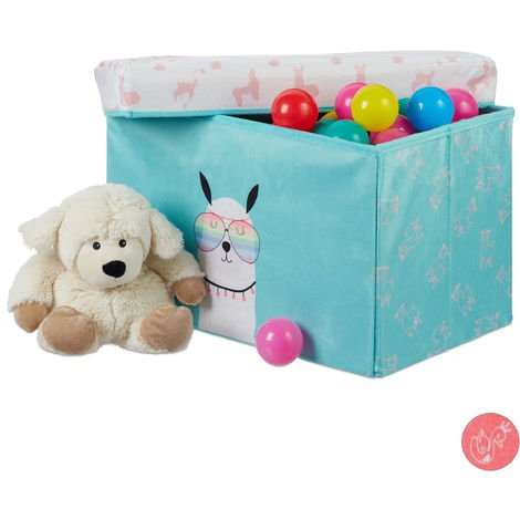 Relaxdays Kids' Storage Ottoman, Lidded, Toys Storage Crate, Folding, Boys & Girls, 33 L, Lama Design, Turquoise