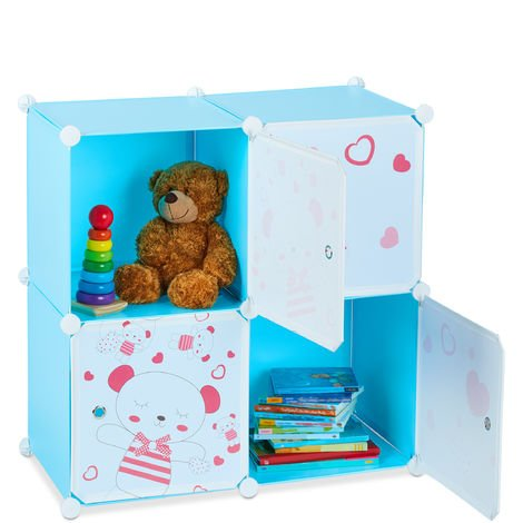 Relaxdays Kids' Toy Shelving Unit, Teddy Design, 4 Compartments, Extendible, DIY, Modular, HWD: 75x75x36.5cm, Blue
