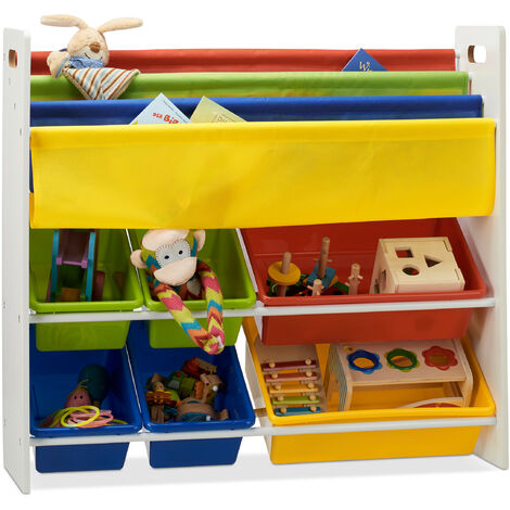 Relaxdays Kid's Toy Storage Shelf with Boxes and Hanging Compartments, Colourful Toy Rack, HWD 78.5 x 86 x 26.5 cm