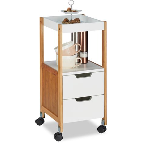 Relaxdays Kitchen Cart with Drawers, Tea Trolley, On Wheels, MDF, Bamboo, HWD: 69x30x30 cm, White