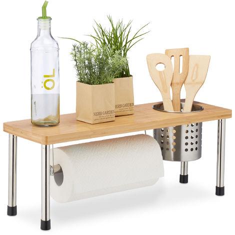 Relaxdays Kitchen Counter Organizer, Roll Holder & Utensil Storage, Spice Rack, Sink Shelf, Bamboo, Natural/Silver
