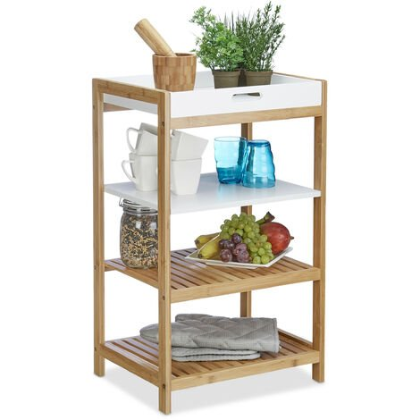 Relaxdays Kitchen Shelf with Removable Tray, Bamboo, Bathroom Storage Unit, Free-Standing, HxWxD: 70 x 43 x 33 cm, Natural Brown, White