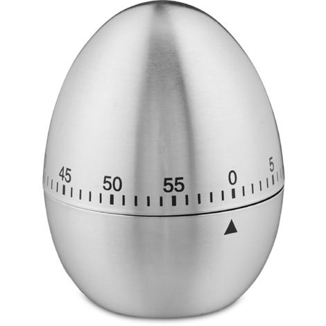 Relaxdays Kitchen Timer, For Cooking, Eggs & Tea, 1 hour, Mechanical, Analogous Time Setting, Stainless Steel, Silver