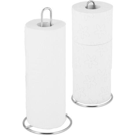 Relaxdays Kitchen Towel Holder Set of 2, Freestanding, Toilet Paper Organiser, Metal, Subtle, HD 32x13 cm, Silver