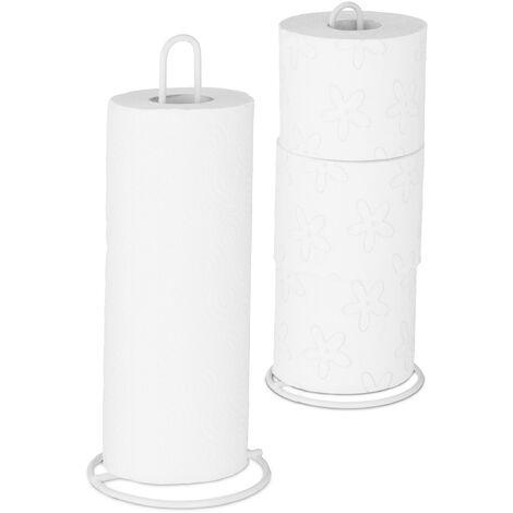 Relaxdays Kitchen Towel Holder Set of 2, Freestanding, Toilet Paper Organiser, Metal, Subtle, HD 32x13 cm, White