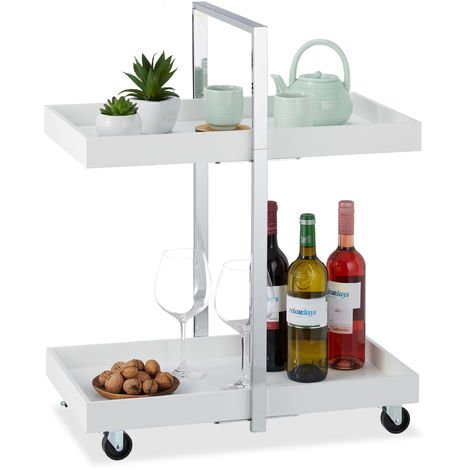 Relaxdays Kitchen Trolley with 2 Shelves, Chromed Steel Frame, 360° Swivel Wheels, HxWxD: 75 x 60 x 34cm, Silver & White