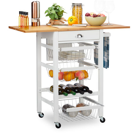 Relaxdays Kitchen Trolley with Folding Top, Country Style, 3 Baskets, Knife Block, Bottle Rack, Butler, White