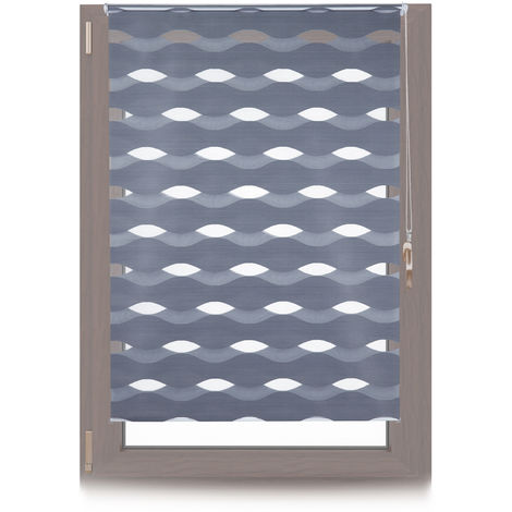 Relaxdays Klemmfix Double Blind, No Drilling, Adjustable Privacy Screen, WxH: 110x150cm, Fabric Width 106cm, Anthracite