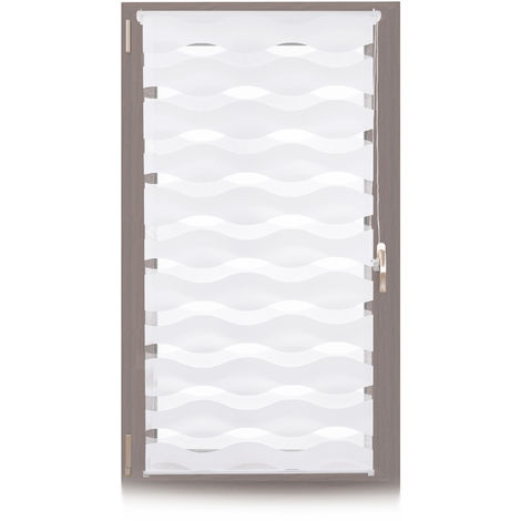 Relaxdays Klemmfix Double Blind, No Drilling, Adjustable Privacy Screen, WxH: 70x150 cm, Fabric Width 66 cm, White