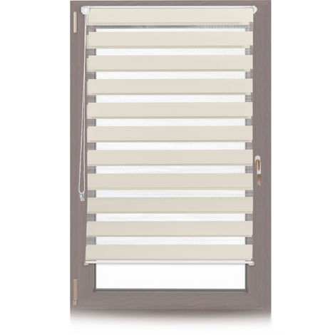 Relaxdays Klemmfix Double Blind, No Drilling, Striped, Hanging Shade with Holders, 85x150cm, Fabric Width 81cm, Beige