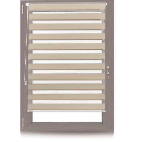 Relaxdays Klemmfix Double Roller Blinds, Dual Shade with Stripes, Clamp Holders, 100x150 cm, Fabric Width 96 cm, Brown