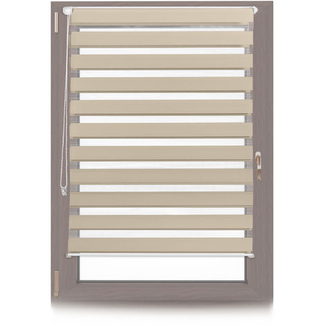 Relaxdays Klemmfix Double Roller Blinds, Dual Shade with Stripes, Clamp Holders, 110x150 cm, Fabric Width 106 cm, Brown