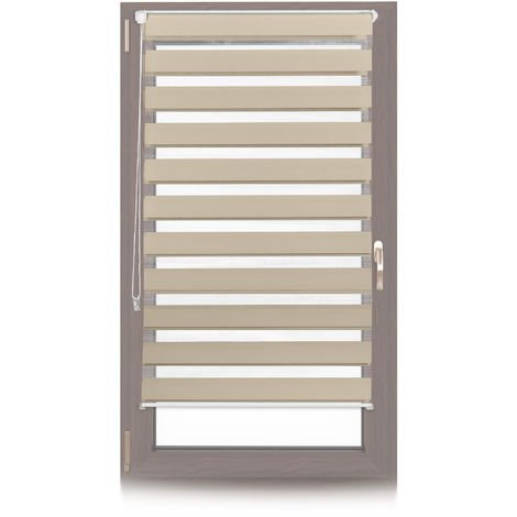 Relaxdays Klemmfix Double Roller Blinds, Dual Shade with Stripes, Clamp Holders, 70x150 cm, Fabric Width 66 cm, Brown