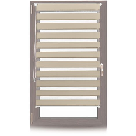 Relaxdays Klemmfix Double Roller Blinds, Dual Shade with Stripes, Clamp Holders, 80x150 cm, Fabric Width 76 cm, Brown