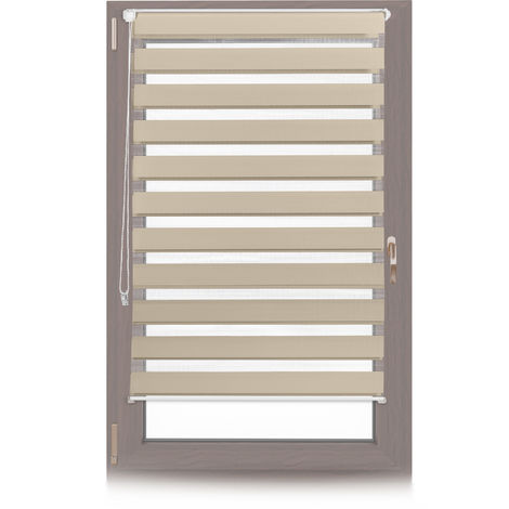 Relaxdays Klemmfix Double Roller Blinds, Dual Shade with Stripes, Clamp Holders, 85x150 cm, Fabric Width 81 cm, Brown