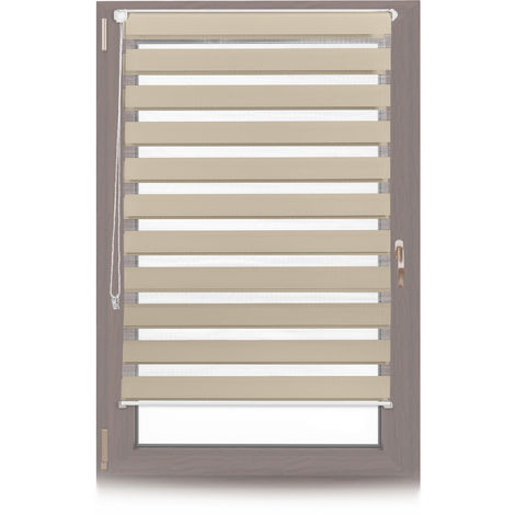 Relaxdays Klemmfix Double Roller Blinds, Dual Shade with Stripes, Clamp Holders, 90x150 cm, Fabric Width 86 cm, Brown