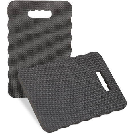 Relaxdays Knee Mat Set of 2, Pad for Gardening, Workshop, Home, Protective Kneeler, WxD 40x26, Black