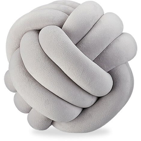 Relaxdays Knot Pillow, Knotted Tie Cushion for Sofa, Decorative, Nordic/Celtic, Braid Knot Pillow, Ø 25 cm, Grey