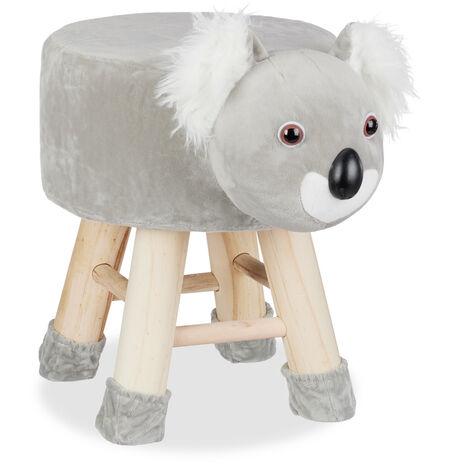 Relaxdays Koala Foot Stool, Decorative Vanity Stool, Removable Cover, Wooden Legs, Padded, Gray
