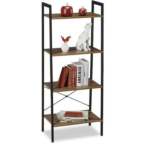 Relaxdays Ladder Shelf, Bookcase, 4 Tiers, Standing, Industrial Design, Plants, Deco, HxWxD :136.5 x 56 x 34 cm, Brown