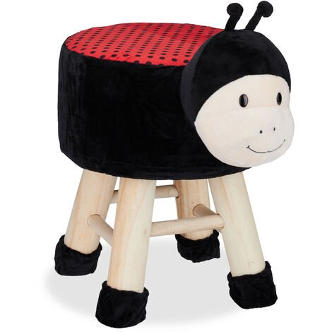 Relaxdays Ladybug Foot Stool, Decorative Vanity Stool, Removable Cover, Wooden Legs, Padded, Black-Red