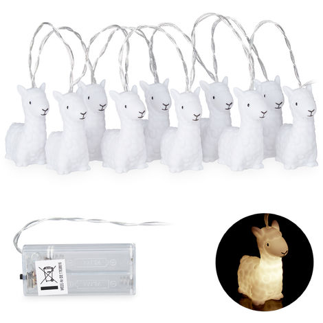 Relaxdays Lama String Lights, Cute Kids' Room Fairy Lights, Battery-Operated, Warm-White, Length: 165 cm, White