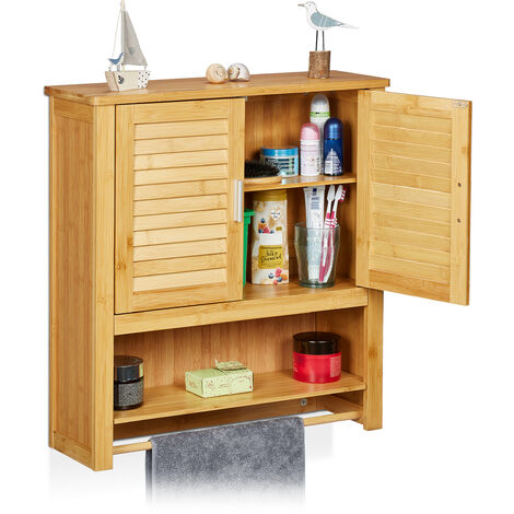 Relaxdays LAMELL Bamboo Cabinet: 66 x 60 x 20 cm Bathroom Wall Mount Hanging Cupboard with 2 Doors and Sheves, Bathroom Storage Shelves, Natural