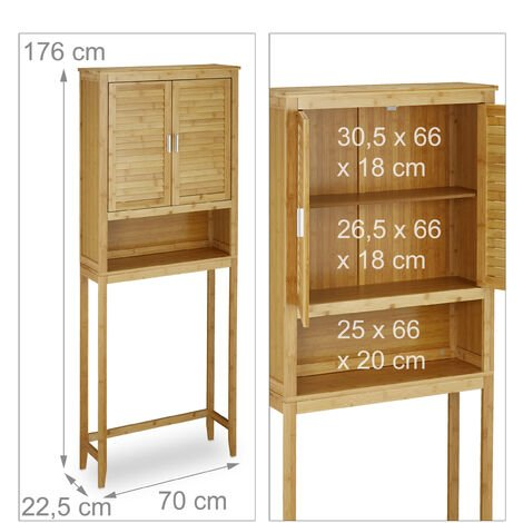 Relaxdays LAMELL Bamboo Washing Machine Cabinet, Floor Storage Unit, Bath Cupboard with Winged Doors, Wood, 3 Shelves, Size: ca 170 x 70 x 22.5 cm, Natural Brown